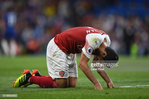 Henrikh Mkhitaryan of Arsenal reacts during the Premier League match between Chelsea FC and Arsenal FC at Stamford Bridge on August 18 2018 in London...