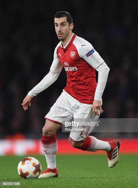Henrikh Mkhitaryan of Arsenal runs with the ball during the UEFA Europa League Round of 16 second leg match between Arsenal and AC Milan at Emirates...