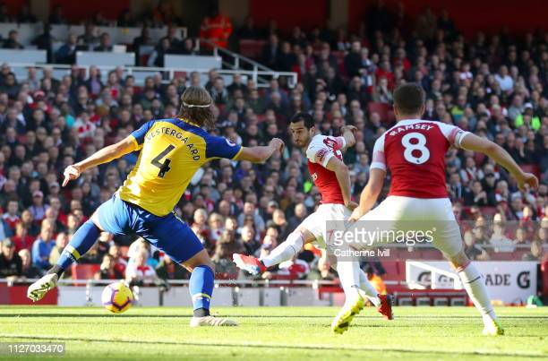 Henrikh Mkhitaryan of Arsenal scores his team's second goal during the Premier League match between Arsenal FC and Southampton FC at Emirates Stadium...