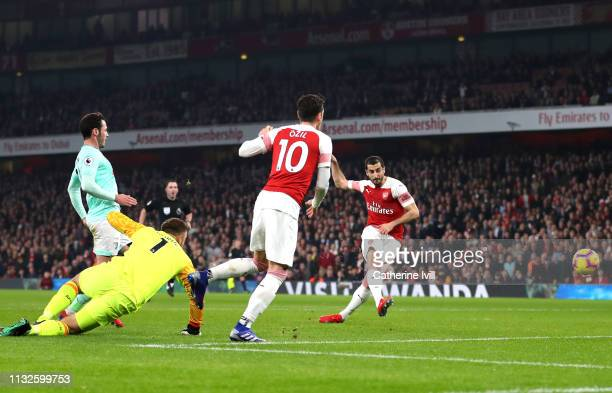 Henrikh Mkhitaryan of Arsenal scores his team's second goal during the Premier League match between Arsenal FC and AFC Bournemouth at Emirates...