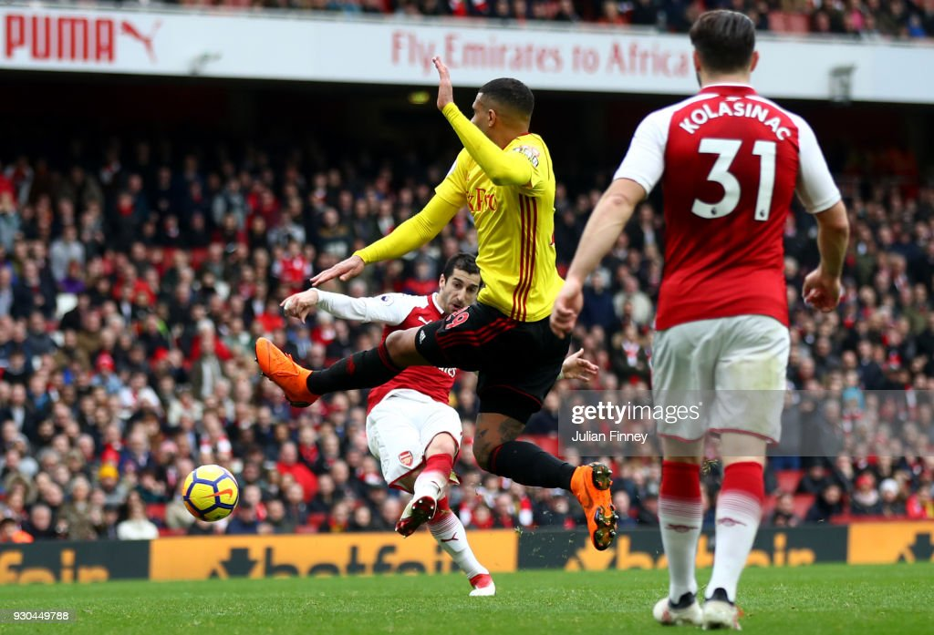 Henrikh Mkhitaryan of Arsenal scores the 3rd Arsenal goal during the Premier League match between Arsenal and Watford at Emirates Stadium on March 11, 2018 in London, England.