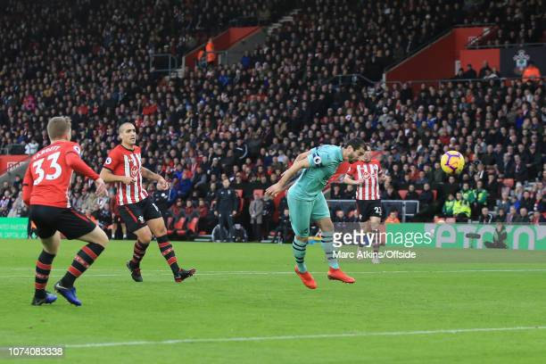 Henrikh Mkhitaryan of Arsenal scores their 1st goal during the Premier League match between Southampton FC and Arsenal FC at St Mary's Stadium on...