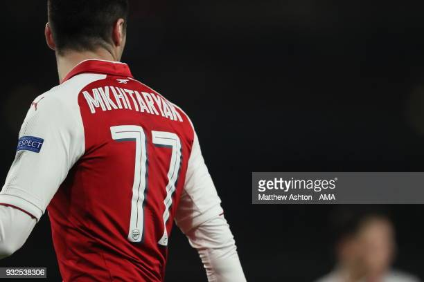 Henrikh Mkhitaryan of Arsenal wearing the no77 shirt due to a UEFA ruling wich states he's unable to wear the 7 due to Alexis Sanchez wearing it for...