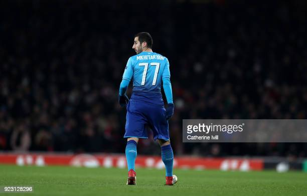 Henrikh Mkhitaryan of Arsenal wearing the number 77 shirt during UEFA Europa League Round of 32 match between Arsenal and Ostersunds FK at the...