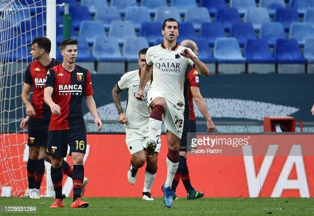 Henrikh Mkhitaryan of AS Roma celebrates after scores his first goal during the Serie A match between Genoa CFC and AS Roma at Stadio Luigi Ferraris...