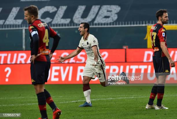 Henrikh Mkhitaryan of AS Roma celebrates after scores his third goal during the Serie A match between Genoa CFC and AS Roma at Stadio Luigi Ferraris...