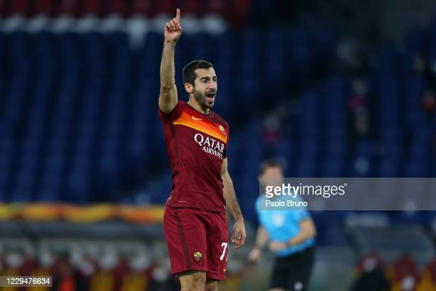Henrikh Mkhitaryan of AS Roma celebrates after scoring the opening goal during the UEFA Europa League Group A stage match between AS Roma and CFR...