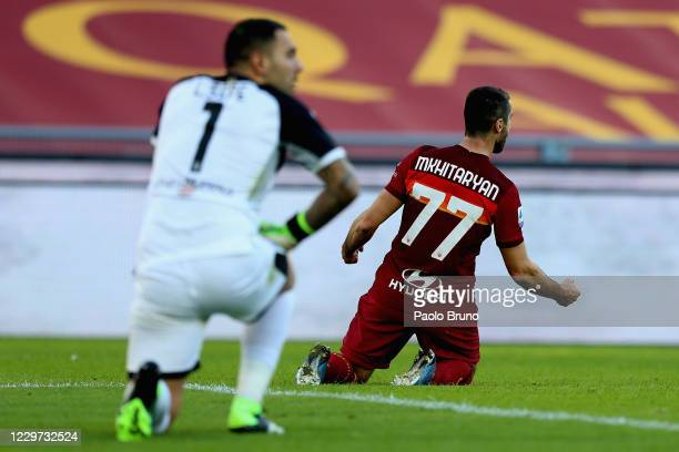 Henrikh Mkhitaryan of AS Roma celebrates after scoring the team's second goal during the Serie A match between AS Roma and Parma Calcio at Stadio...