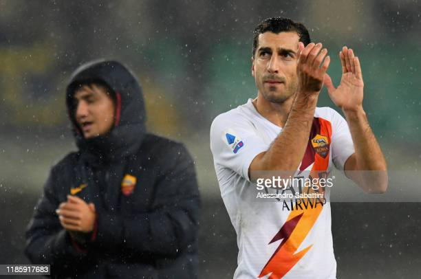 Henrikh Mkhitaryan of As Roma celebrates the victory after the Serie A match between Hellas Verona and AS Roma at Stadio Marcantonio Bentegodi on...