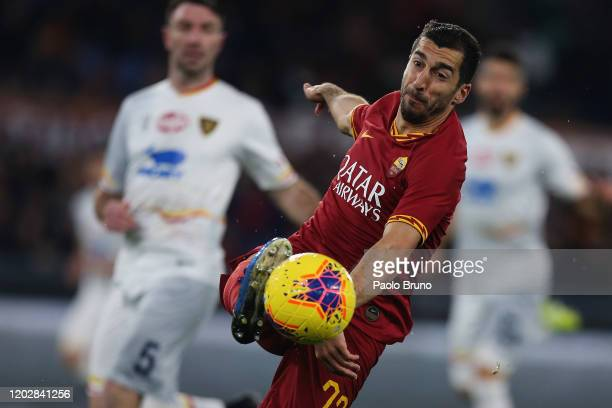 Henrikh Mkhitaryan of AS Roma in action during the Serie A match between AS Roma and US Lecce at Stadio Olimpico on February 23, 2020 in Rome, Italy.