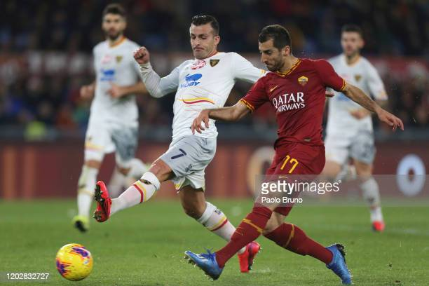 Henrikh Mkhitaryan of AS Roma scores the team's second goal during the Serie A match between AS Roma and US Lecce at Stadio Olimpico on February 23,...