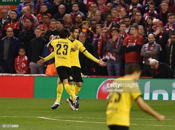 Henrikh Mkhitaryan of Borussia Dortmund celebrates scoring a goal during the UEFA Europa League Quarter Final Second Leg match between Liverpool and...