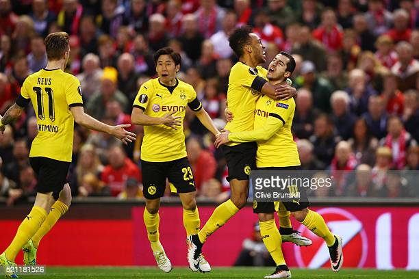 Henrikh Mkhitaryan of Borussia Dortmund celebrates scoring his team's opening goal with PierreEmerick Aubameyang during the UEFA Europa League...