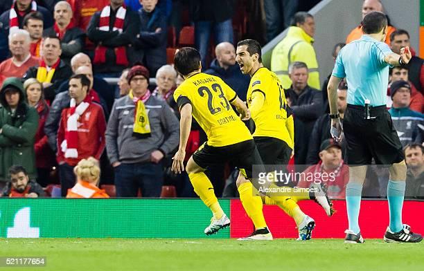 Henrikh Mkhitaryan of Borussia Dortmund celebrates scoring the opening goal during the UEFA Europa League Quarter Final Second Leg match between...
