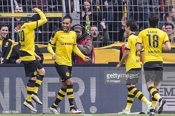 Henrikh Mkhitaryan of Borussia Dortmund PierreEmerick Aubameyang of Borussia Dortmund Shinji Kagawa of Borussia Dortmund Nouri Sahin of Borussia...