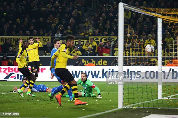 Henrikh Mkhitaryan of Borussia Dortmund scores his team's first goal during the Bundesliga match between Borussia Dortmund and 1899 Hoffenheim at...