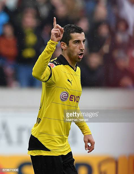 Henrikh Mkhitaryan of Dortmund celebrates after scoring his team's third goal during the Bundesliga match between VfB Stuttgart and Borussia Dortmund...
