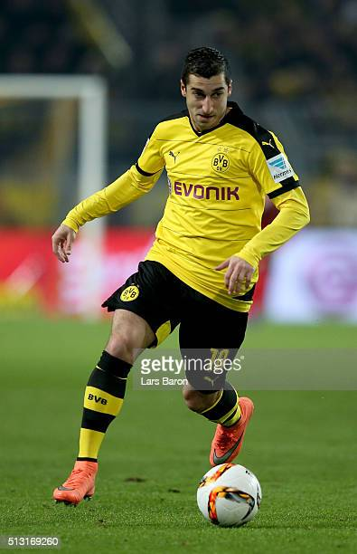 Henrikh Mkhitaryan of Dortmund runs with the ball during the Bundesliga macth between Borussia Dortmund and 1899 Hoffenheim at Signal Iduna Park on...