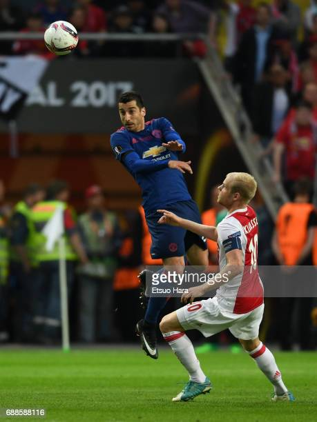 Henrikh Mkhitaryan of Manchester United and Davy Klaassen of Ajax compete for the ball during the UEFA Europa League final match between Ajax and...