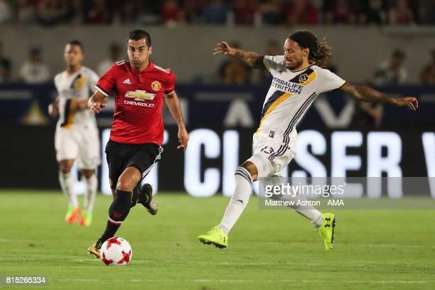 Henrikh Mkhitaryan of Manchester United and Jermaine Jones of LA Galaxyduring to the friendly fixture between LA Galaxy and Manchester United at...
