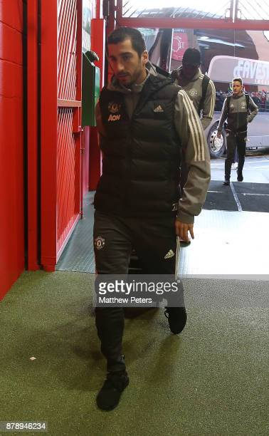 Henrikh Mkhitaryan of Manchester United arrives ahead of the Premier League match between Manchester United and Brighton and Hove Albion at Old...