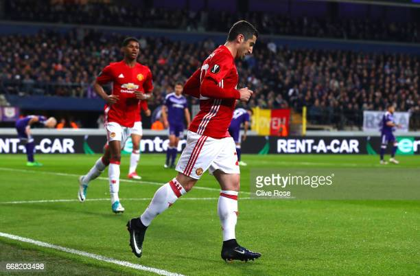 Henrikh Mkhitaryan of Manchester United celebrates after he scores his sides first goal during the UEFA Europa League quarter final first leg match...