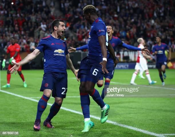 Henrikh Mkhitaryan of Manchester United celebrates scoring his sides second goal with Paul Pogba of Manchester United during the UEFA Europa League...