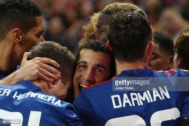 Henrikh Mkhitaryan of Manchester United celebrates scoring his sides second goal with his Manchester United team mates during the UEFA Europa League...