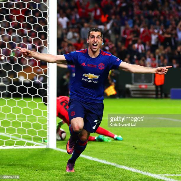 Henrikh Mkhitaryan of Manchester United celebrates scoring his side's second goal during the UEFA Europa League Final match between Ajax and...