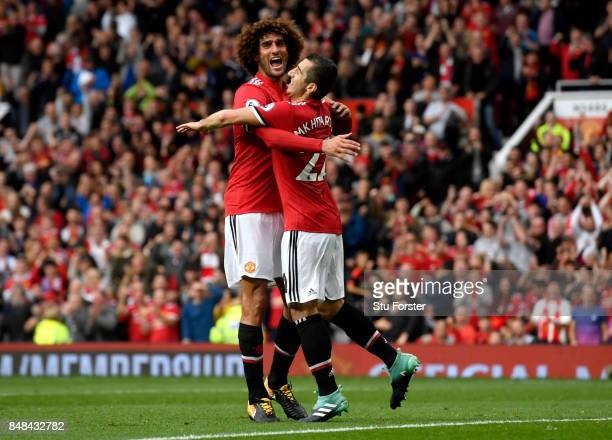 Henrikh Mkhitaryan of Manchester United celebrates scoring his sides second goal with Marouane Fellaini of Manchester United during the Premier...