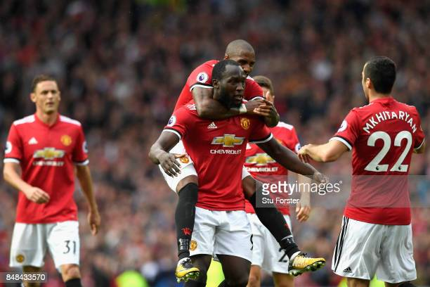 Henrikh Mkhitaryan of Manchester United celebrates scoring his sides second goal with Romelu Lukaku of Manchester United during the Premier League...