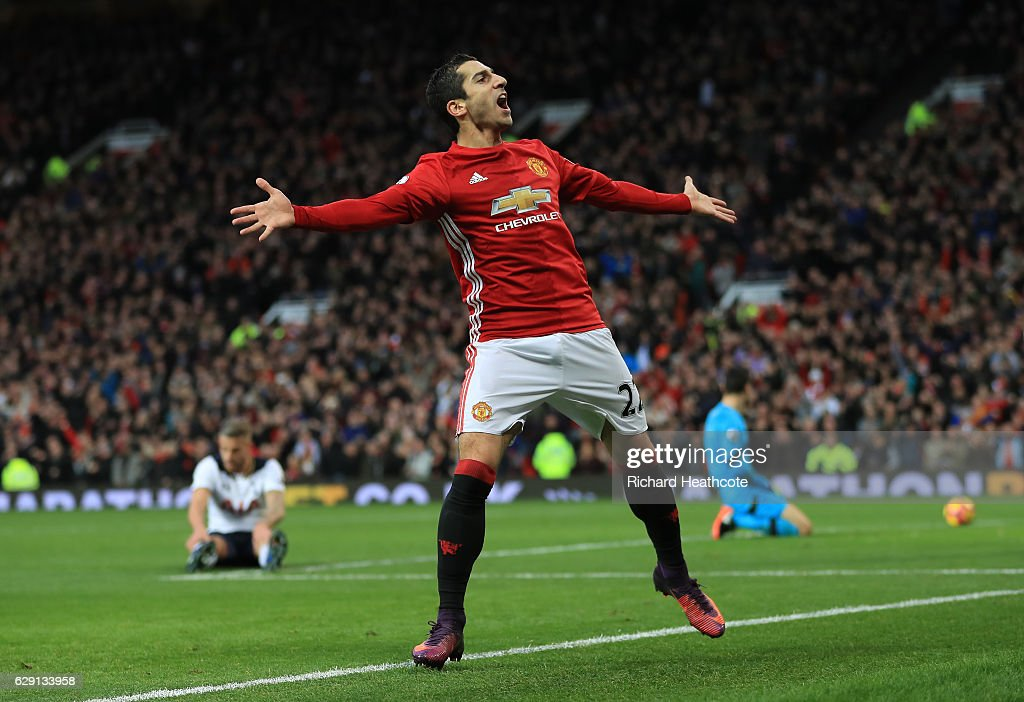Henrikh Mkhitaryan of Manchester United celebrates scoring the opening goal during the Premier League match between Manchester United and Tottenham Hotspur at Old Trafford on December 11, 2016 in Manchester, England.