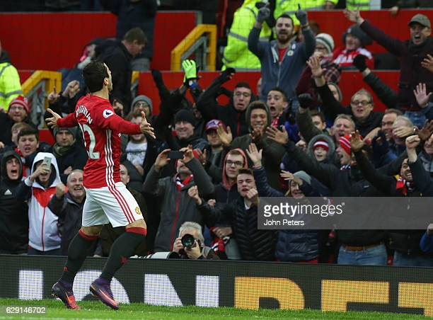 Henrikh Mkhitaryan of Manchester United celebrates scoring their first goal during the Premier League match between Manchester United and Tottenham...