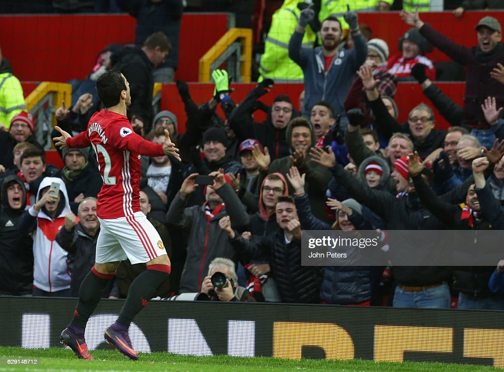 Henrikh Mkhitaryan of Manchester United celebrates scoring their first goal during the Premier League match between Manchester United and Tottenham Hotspur at Old Trafford on December 11, 2016 in Manchester, England.