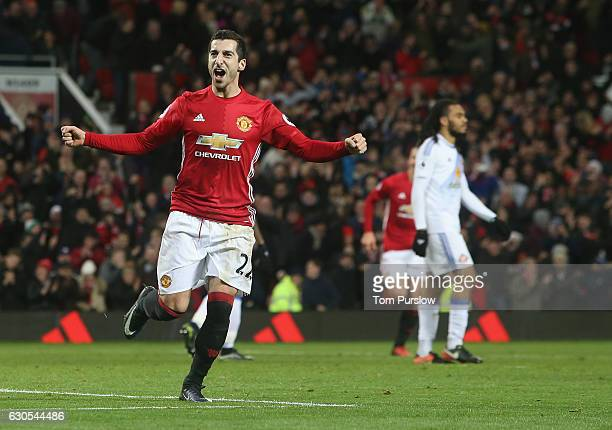 Henrikh Mkhitaryan of Manchester United celebrates scoring their third goal their second goal during the Premier League match between Manchester...