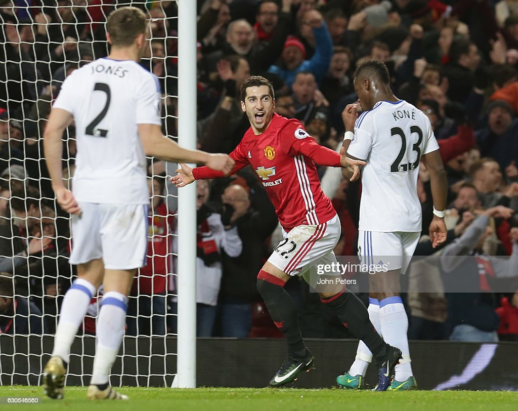 Henrikh Mkhitaryan of Manchester United celebrates scoring their third goal their second goal during the Premier League match between Manchester United and Sunderland at Old Trafford on December 26, 2016 in Manchester, England.