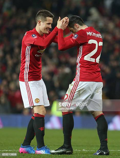 Henrikh Mkhitaryan of Manchester United celebrates scoring their third goal during the Emirates FA Cup Fourth Round match between Manchester United...