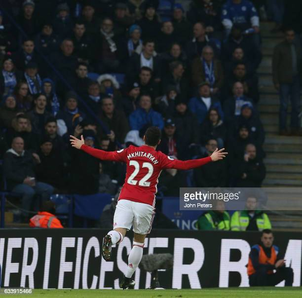 Henrikh Mkhitaryan of Manchester United celebrates scoring their first goal during the Premier League match between Leicester City and Manchester...