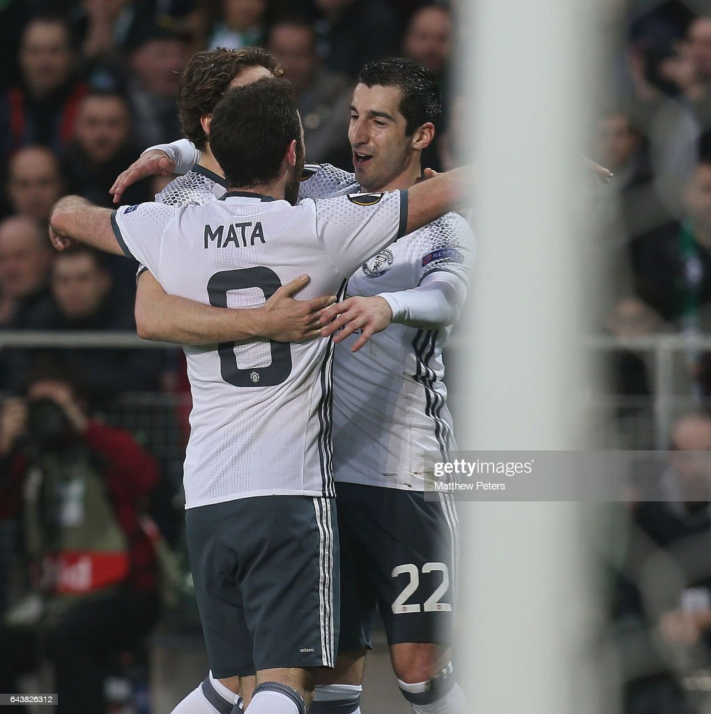 Henrikh Mkhitaryan of Manchester United celebrates scoring their first goal during the UEFA Europa League Round of 32 second leg match between AS Saint-Etienne and Manchester United at Stade Geoffroy-Guichard on February 22, 2017 in Saint-Etienne, France.