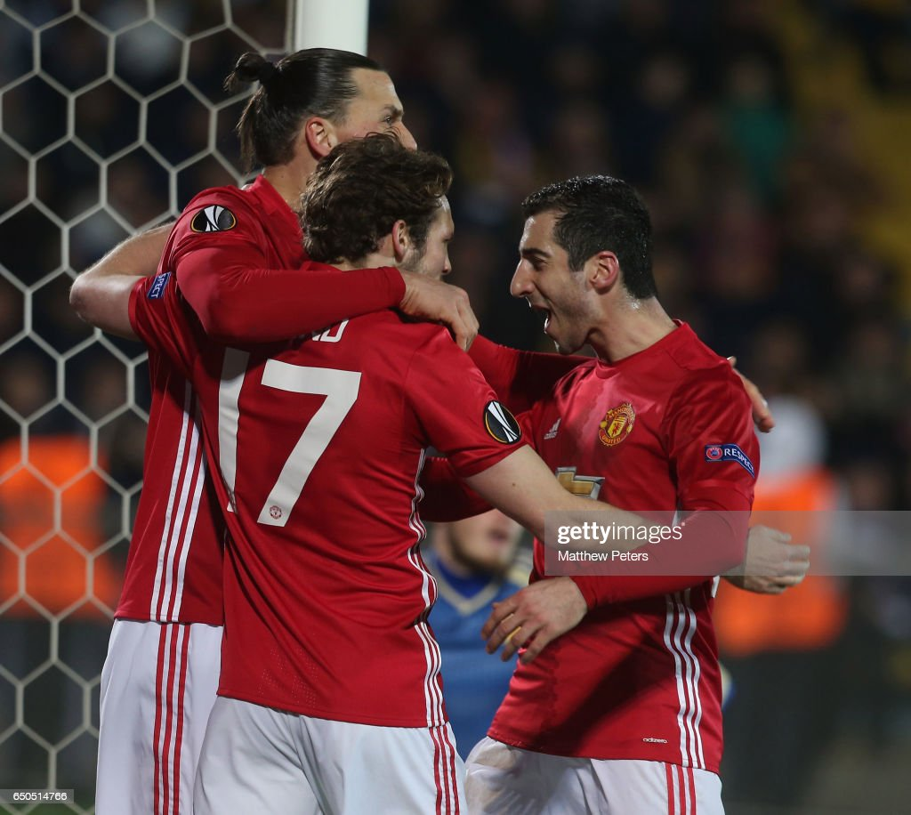Henrikh Mkhitaryan of Manchester United celebrates scoring their first goal during the UEFA Europa League Round of 16 first leg match between FK Rostov and Manchester United at Olimp-2 on March 9, 2017 in Rostov-on-Don, Russia.