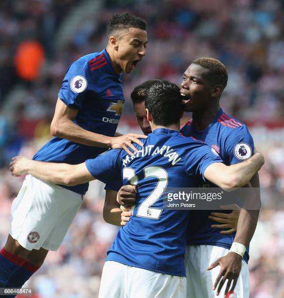 Henrikh Mkhitaryan of Manchester United celebrates scoring their second goal during the Premier League match between Sunderland and Manchester United...