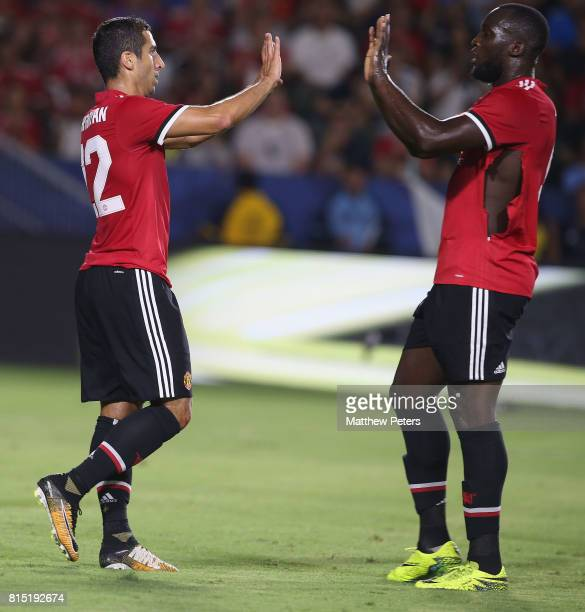 Henrikh Mkhitaryan of Manchester United celebrates scoring their fourth goal during the preseason friendly match between LA Galaxy and Manchester...