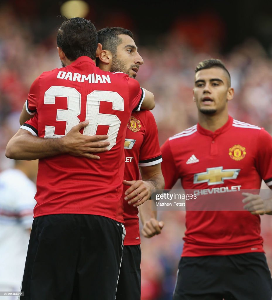 Henrikh Mkhitaryan of Manchester United celebrates scoring their first goal during the International Champions Cup pre-season friendly match between Manchester United and Sampdoria at the Aviva Stadium on August 2, 2017 in Dublin, Ireland.