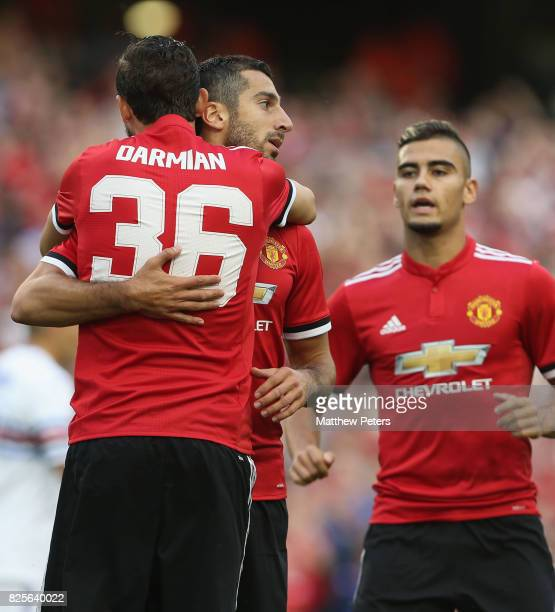 Henrikh Mkhitaryan of Manchester United celebrates scoring their first goal during the International Champions Cup preseason friendly match between...