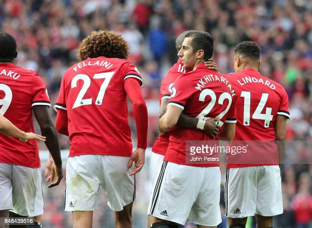 Henrikh Mkhitaryan of Manchester United celebrates scoring their second goal during the Premier League match between Manchester United and Everton at...