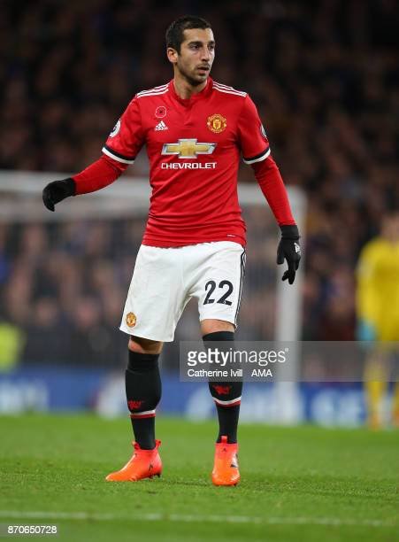 Henrikh Mkhitaryan of Manchester United during the Premier League match between Chelsea and Manchester United at Stamford Bridge on November 5 2017...