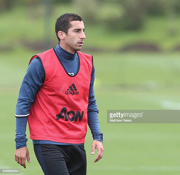 Henrikh Mkhitaryan of Manchester United in action during a first team training session at Aon Training Complex on July 13 2016 in Manchester England