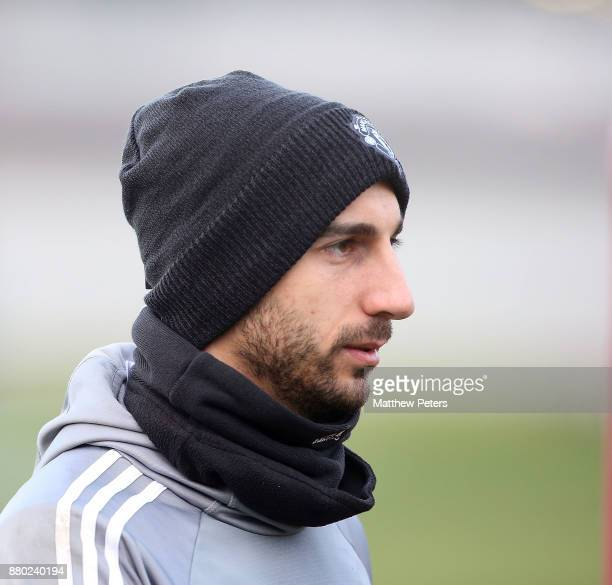 Henrikh Mkhitaryan of Manchester United in action during a first team training session at Aon Training Complex on November 27 2017 in Manchester...