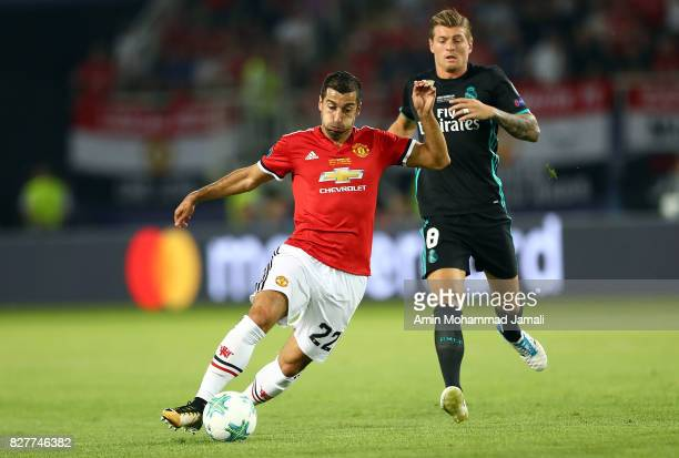 Henrikh Mkhitaryan of Manchester United in action during Super UEFA super Cup match between Real Madrid and Manchester United on August 8 2017 in...