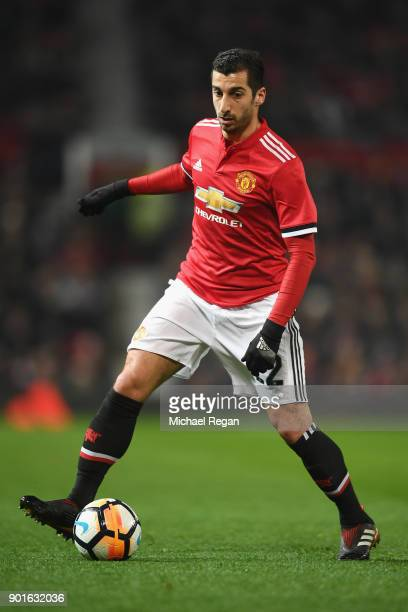 Henrikh Mkhitaryan of Manchester United in action during the FA Cup 3rd round match between Manchester United and derby County at Old Trafford on...